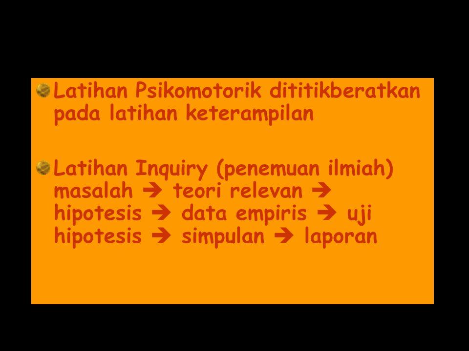Latihan Psikomotorik dititikberatkan pada latihan keterampilan Latihan Inquiry (penemuan ilmiah) masalah  teori relevan  hipotesis  data empiris  uji hipotesis  simpulan  laporan