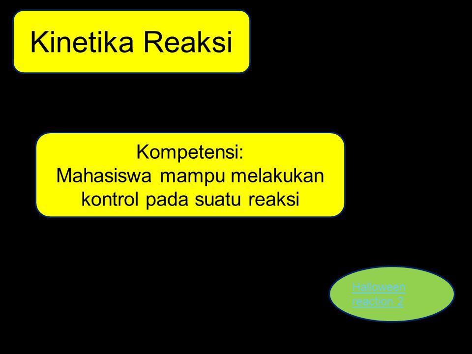 Kinetika Reaksi Halloween reaction 2 Kompetensi: Mahasiswa mampu melakukan kontrol pada suatu reaksi