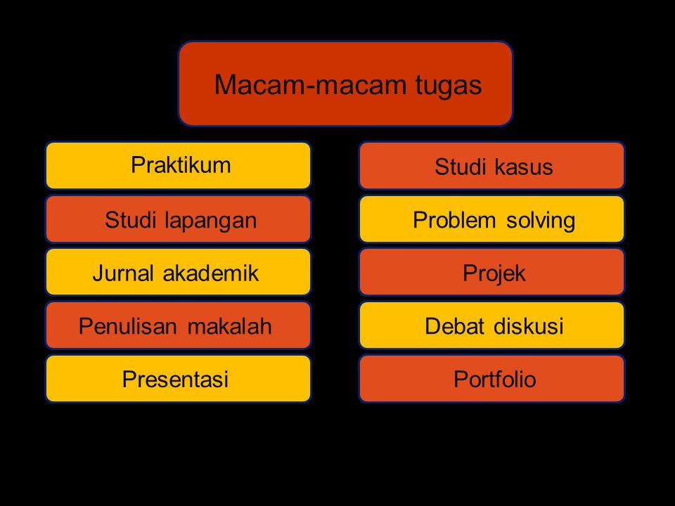 Macam-macam tugas Praktikum Studi lapangan Jurnal akademik Penulisan makalah Presentasi Studi kasus Problem solving Projek Debat diskusi Portfolio