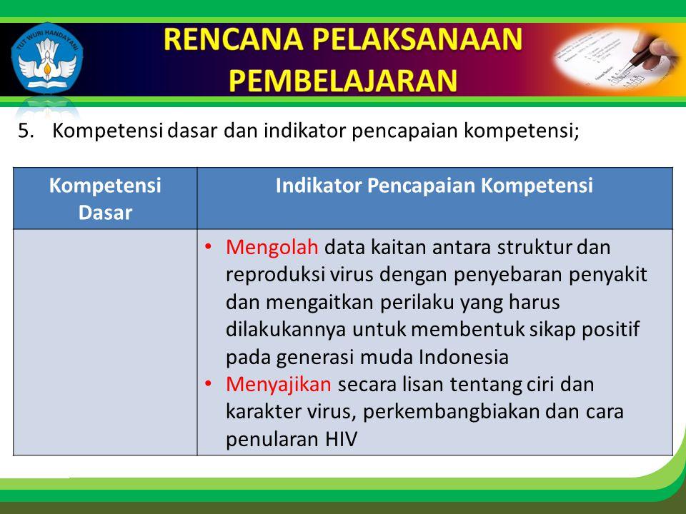 Click to edit Master title style 5.Kompetensi dasar dan indikator pencapaian kompetensi; Kompetensi Dasar Indikator Pencapaian Kompetensi • Mengolah data kaitan antara struktur dan reproduksi virus dengan penyebaran penyakit dan mengaitkan perilaku yang harus dilakukannya untuk membentuk sikap positif pada generasi muda Indonesia • Menyajikan secara lisan tentang ciri dan karakter virus, perkembangbiakan dan cara penularan HIV
