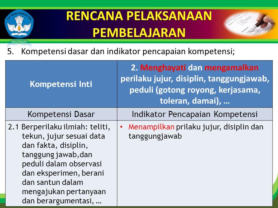 Click to edit Master title style 5.Kompetensi dasar dan indikator pencapaian kompetensi; Kompetensi Inti 2.
