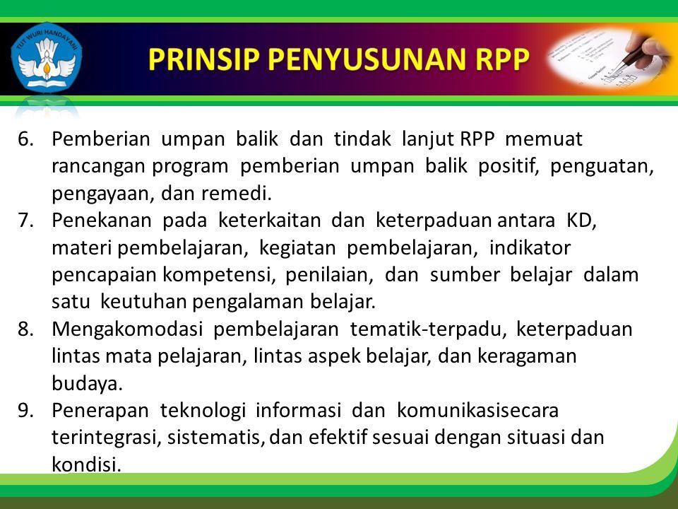 Click to edit Master title style 6.Pemberian umpan balik dan tindak lanjut RPP memuat rancangan program pemberian umpan balik positif, penguatan, pengayaan, dan remedi.