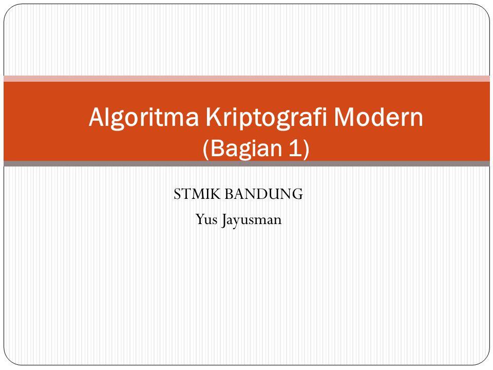 STMIK BANDUNG Yus Jayusman Algoritma Kriptografi Modern (Bagian 1)
