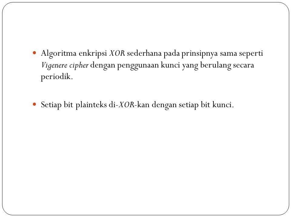  Algoritma enkripsi XOR sederhana pada prinsipnya sama seperti Vigenere cipher dengan penggunaan kunci yang berulang secara periodik.  Setiap bit pl