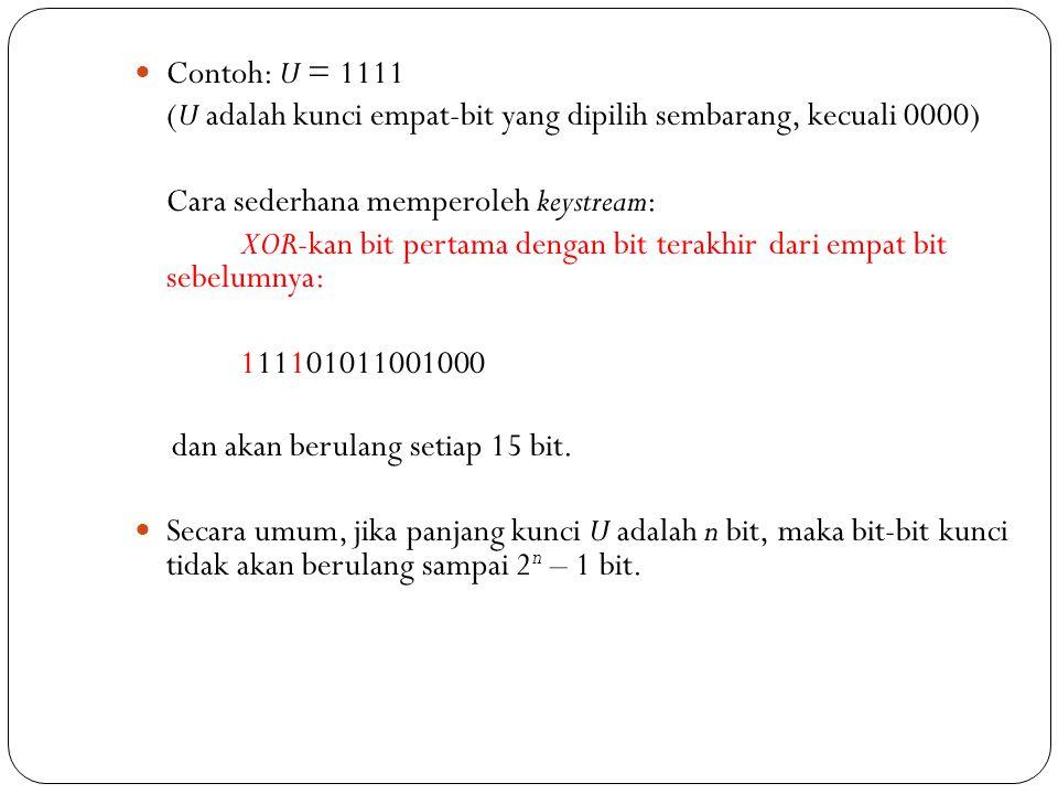  Contoh: U = 1111 (U adalah kunci empat-bit yang dipilih sembarang, kecuali 0000) Cara sederhana memperoleh keystream: XOR-kan bit pertama dengan bit