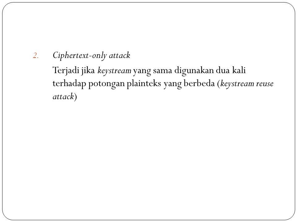 2. Ciphertext-only attack Terjadi jika keystream yang sama digunakan dua kali terhadap potongan plainteks yang berbeda (keystream reuse attack)
