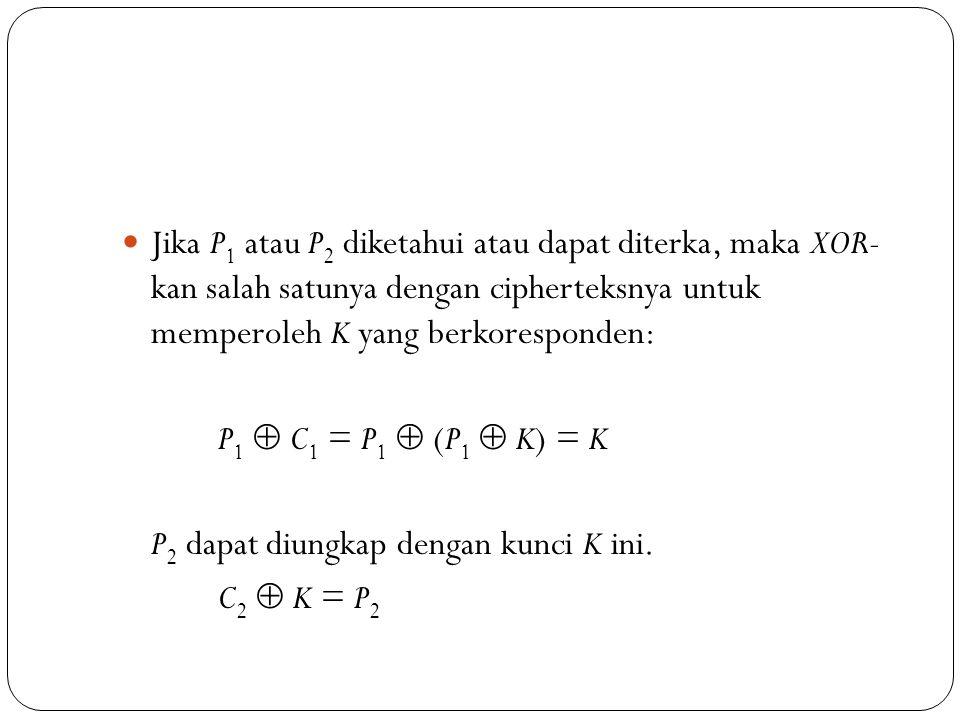  Jika P 1 atau P 2 diketahui atau dapat diterka, maka XOR- kan salah satunya dengan cipherteksnya untuk memperoleh K yang berkoresponden: P 1  C 1 =