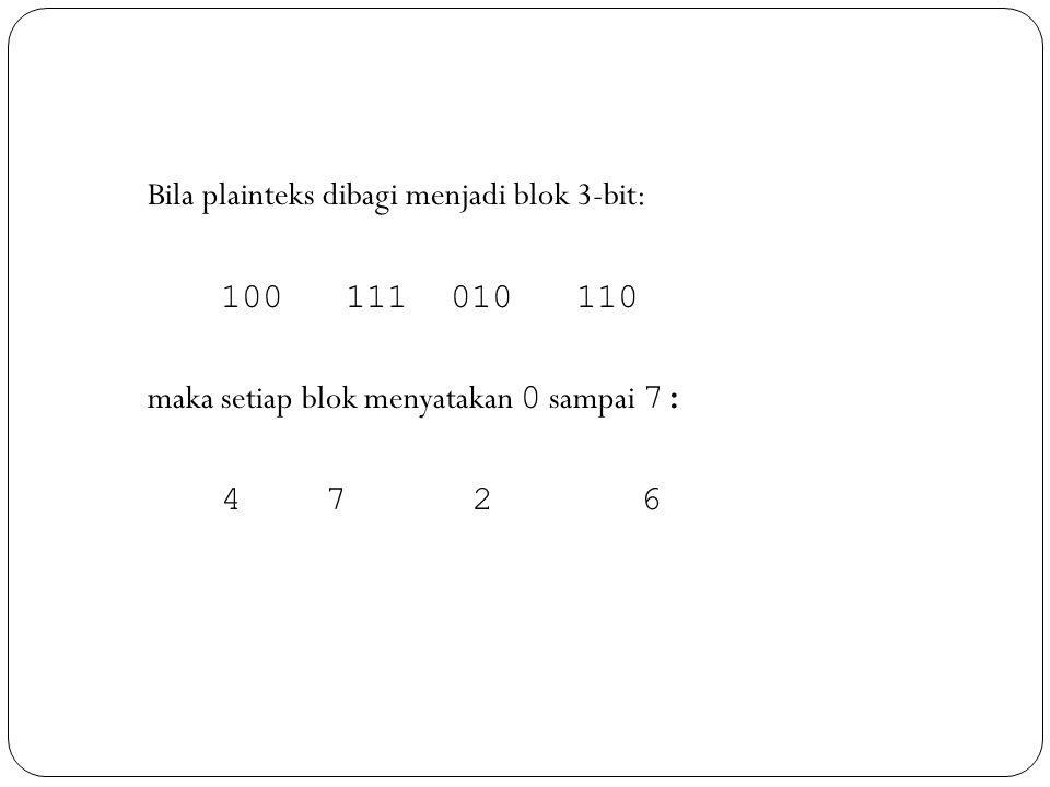 Bila plainteks dibagi menjadi blok 3-bit: 100 111 010 110 maka setiap blok menyatakan 0 sampai 7: 4 7 26