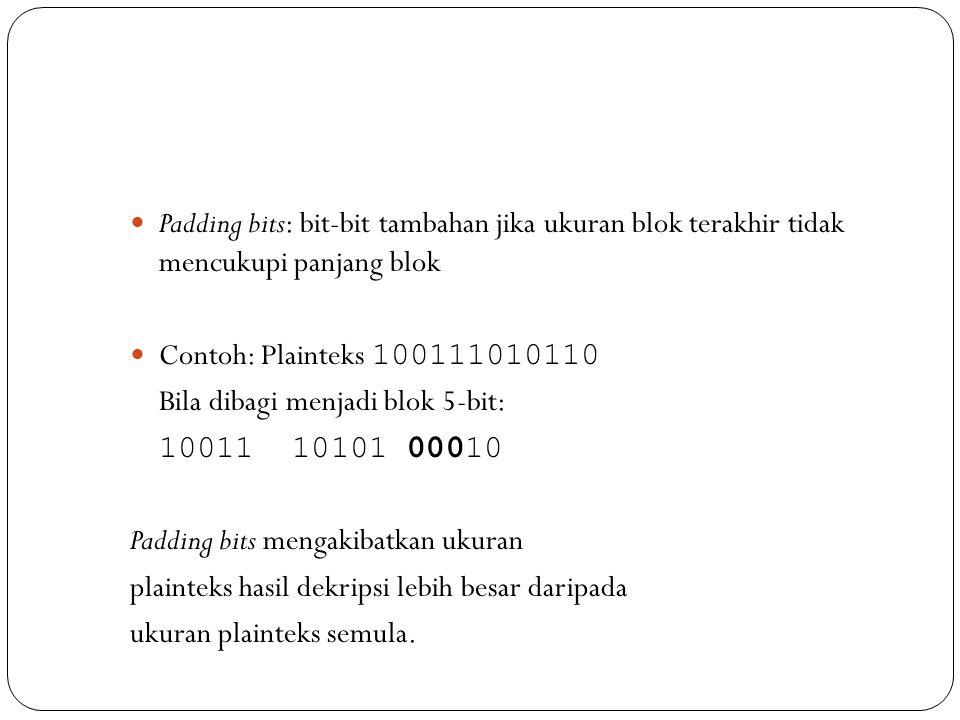 Padding bits: bit-bit tambahan jika ukuran blok terakhir tidak mencukupi panjang blok  Contoh: Plainteks 100111010110 Bila dibagi menjadi blok 5-bi