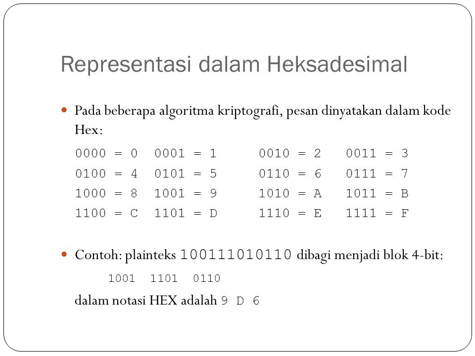 Representasi dalam Heksadesimal  Pada beberapa algoritma kriptografi, pesan dinyatakan dalam kode Hex: 0000 = 0 0001 = 1 0010 = 20011 = 3 0100 = 4 01
