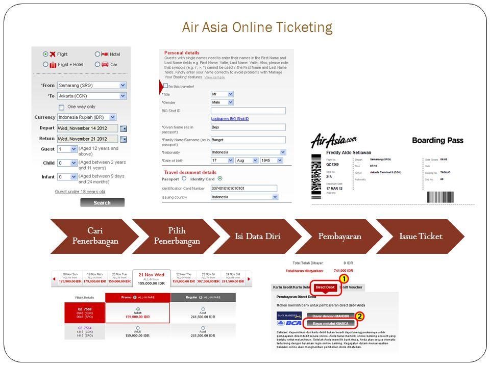 Air Asia Online Ticketing Cari Penerbangan Pilih Penerbangan Isi Data DiriPembayaranIssue Ticket