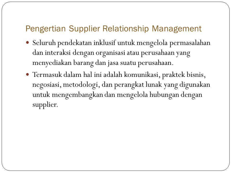 Pengertian Supplier Relationship Management  Seluruh pendekatan inklusif untuk mengelola permasalahan dan interaksi dengan organisasi atau perusahaan yang menyediakan barang dan jasa suatu perusahaan.