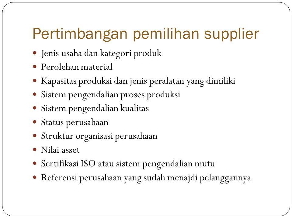 Pertimbangan pemilihan supplier  Jenis usaha dan kategori produk  Perolehan material  Kapasitas produksi dan jenis peralatan yang dimiliki  Sistem pengendalian proses produksi  Sistem pengendalian kualitas  Status perusahaan  Struktur organisasi perusahaan  Nilai asset  Sertifikasi ISO atau sistem pengendalian mutu  Referensi perusahaan yang sudah menajdi pelanggannya