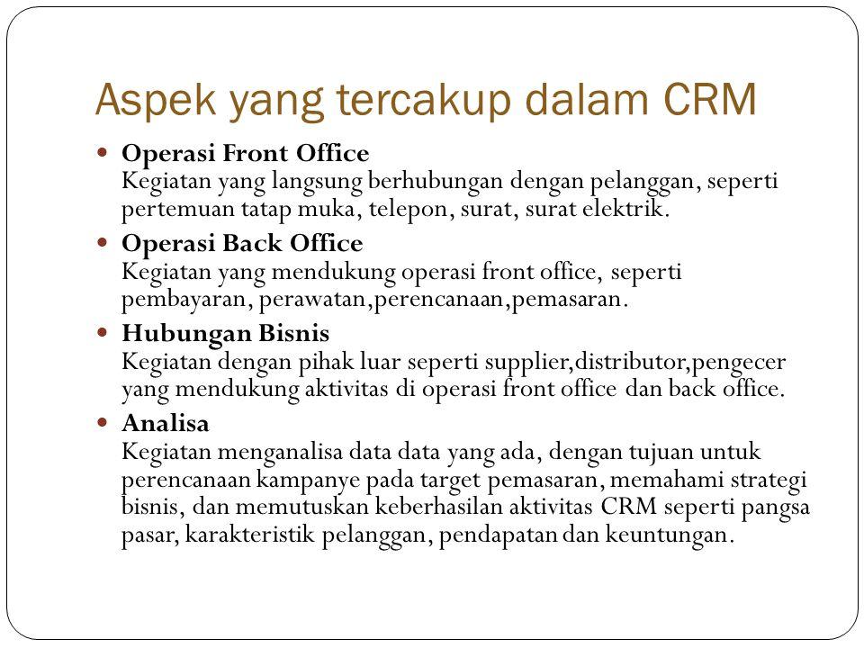 Aspek yang tercakup dalam CRM  Operasi Front Office Kegiatan yang langsung berhubungan dengan pelanggan, seperti pertemuan tatap muka, telepon, surat, surat elektrik.