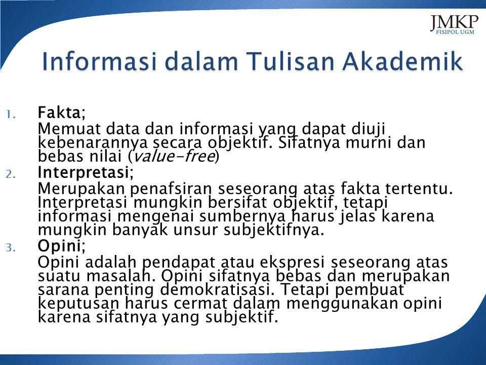 1. Fakta; Memuat data dan informasi yang dapat diuji kebenarannya secara objektif.