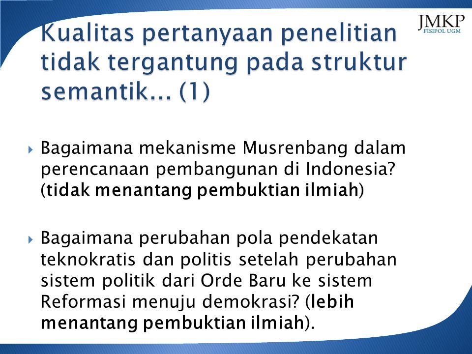  Bagaimana mekanisme Musrenbang dalam perencanaan pembangunan di Indonesia.