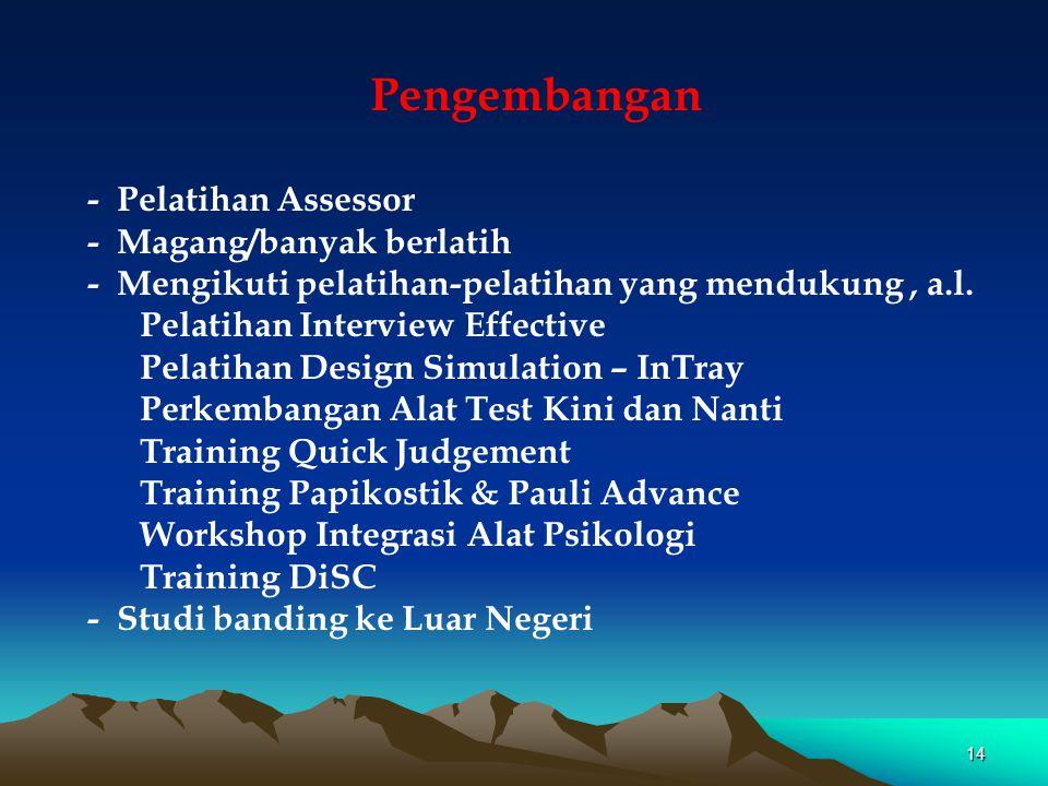 Pengembangan - Pelatihan Assessor - Magang/banyak berlatih - Mengikuti pelatihan-pelatihan yang mendukung, a.l. Pelatihan Interview Effective Pelatiha