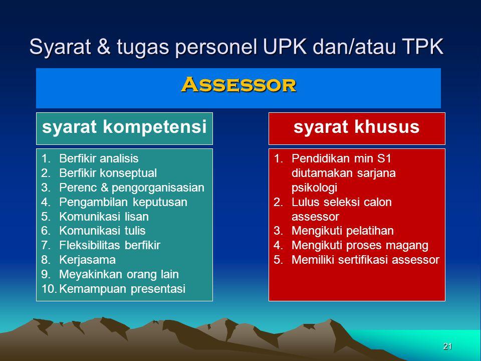 Syarat & tugas personel UPK dan/atau TPK Assessor syarat kompetensisyarat khusus 1.Berfikir analisis 2.Berfikir konseptual 3.Perenc & pengorganisasian