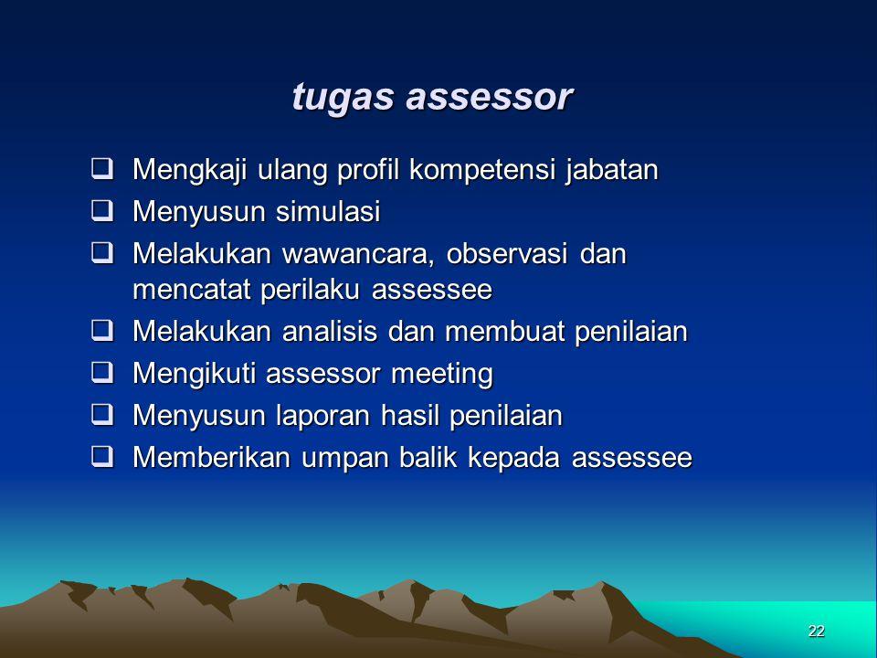 tugas assessor  Mengkaji ulang profil kompetensi jabatan  Menyusun simulasi  Melakukan wawancara, observasi dan mencatat perilaku assessee  Melaku