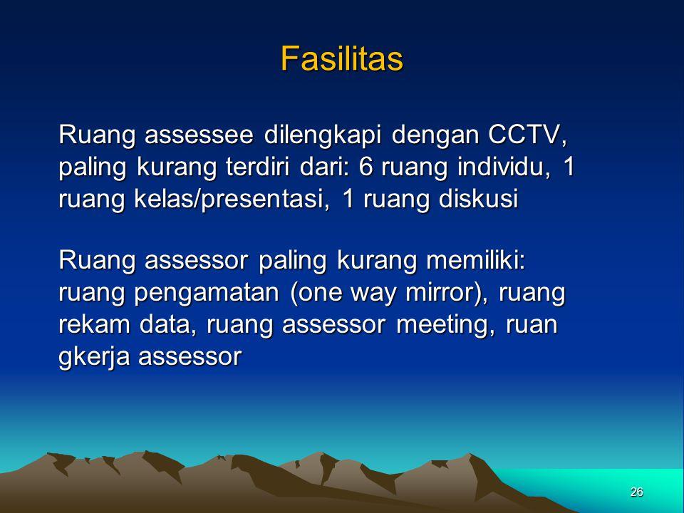 Fasilitas Ruang assessee dilengkapi dengan CCTV, paling kurang terdiri dari: 6 ruang individu, 1 ruang kelas/presentasi, 1 ruang diskusi Ruang assesso