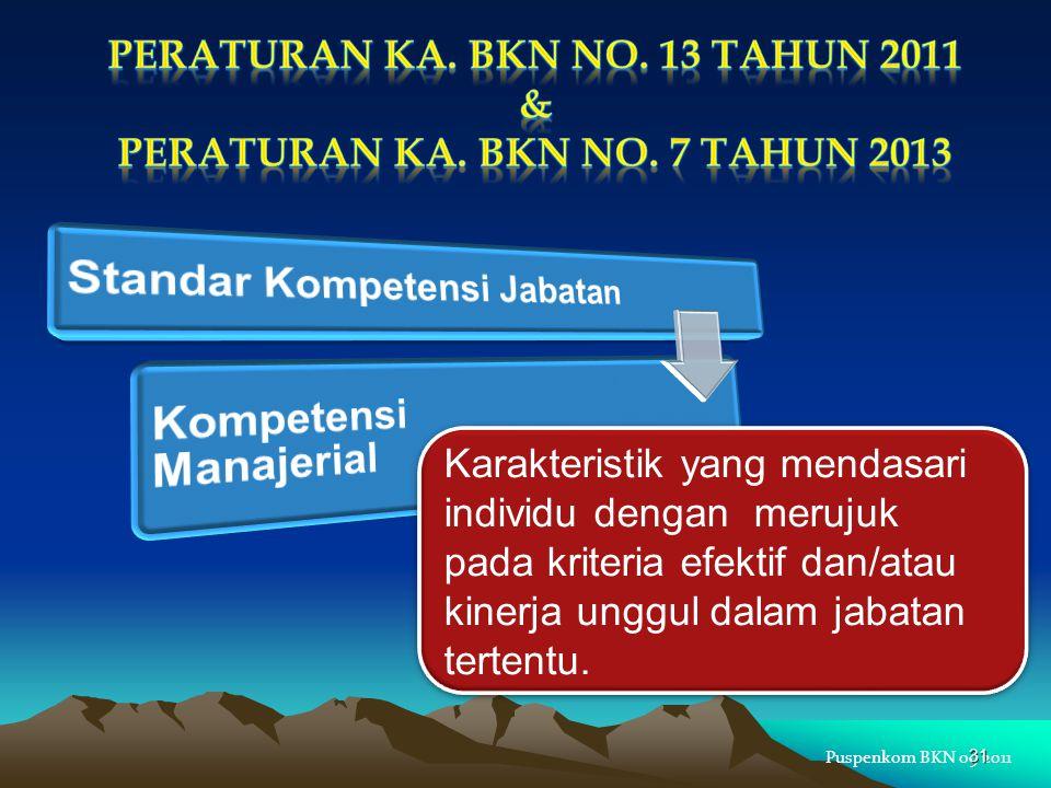 Puspenkom BKN 09 2011 Karakteristik yang mendasari individu dengan merujuk pada kriteria efektif dan/atau kinerja unggul dalam jabatan tertentu. 31