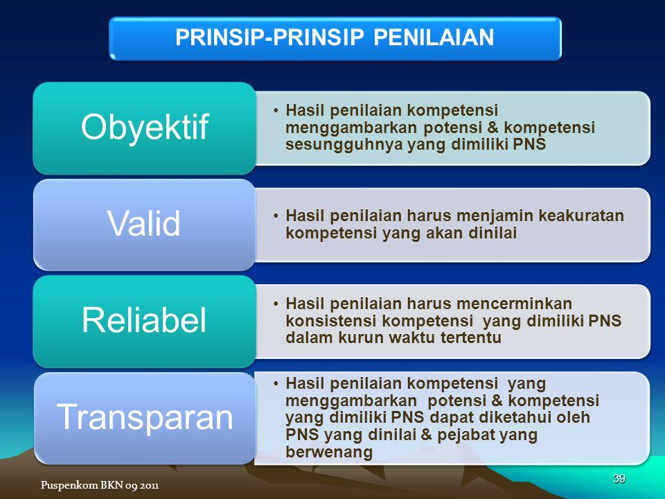 •Hasil penilaian kompetensi menggambarkan potensi & kompetensi sesungguhnya yang dimiliki PNS Obyektif •Hasil penilaian harus menjamin keakuratan komp
