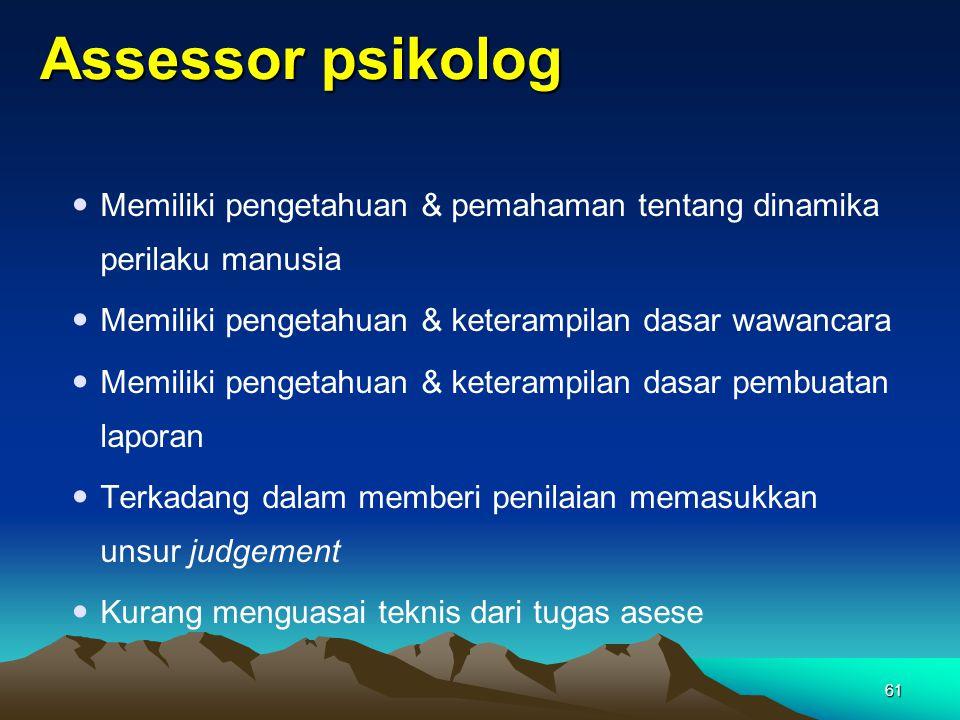 Assessor psikolog  Memiliki pengetahuan & pemahaman tentang dinamika perilaku manusia  Memiliki pengetahuan & keterampilan dasar wawancara  Memilik