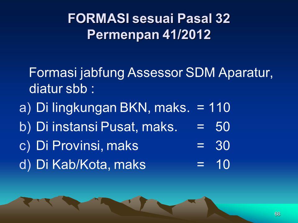 FORMASI sesuai Pasal 32 Permenpan 41/2012 Formasi jabfung Assessor SDM Aparatur, diatur sbb : a)Di lingkungan BKN, maks.= 110 b)Di instansi Pusat, mak