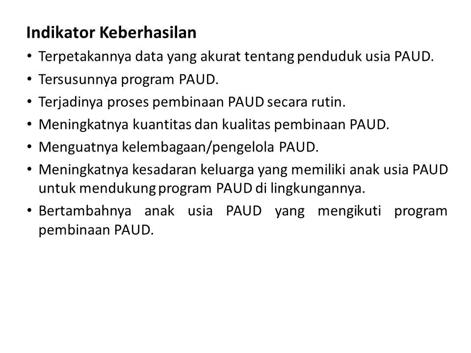 Indikator Keberhasilan • Terpetakannya data yang akurat tentang penduduk usia PAUD. • Tersusunnya program PAUD. • Terjadinya proses pembinaan PAUD sec