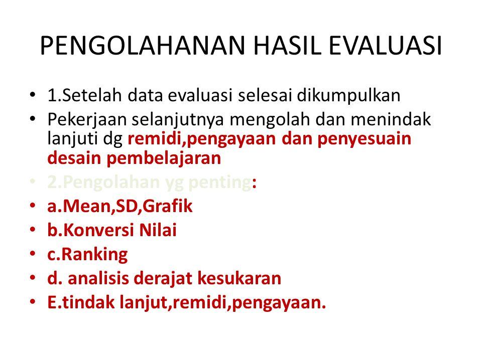 PENGOLAHANAN HASIL EVALUASI • 1.Setelah data evaluasi selesai dikumpulkan • Pekerjaan selanjutnya mengolah dan menindak lanjuti dg remidi,pengayaan dan penyesuain desain pembelajaran • 2.Pengolahan yg penting: • a.Mean,SD,Grafik • b.Konversi Nilai • c.Ranking • d.