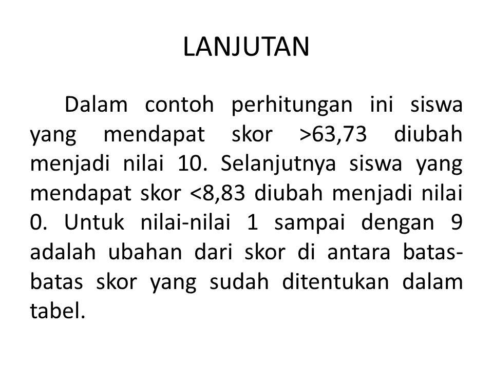 LANJUTAN Dalam contoh perhitungan ini siswa yang mendapat skor >63,73 diubah menjadi nilai 10. Selanjutnya siswa yang mendapat skor <8,83 diubah menja