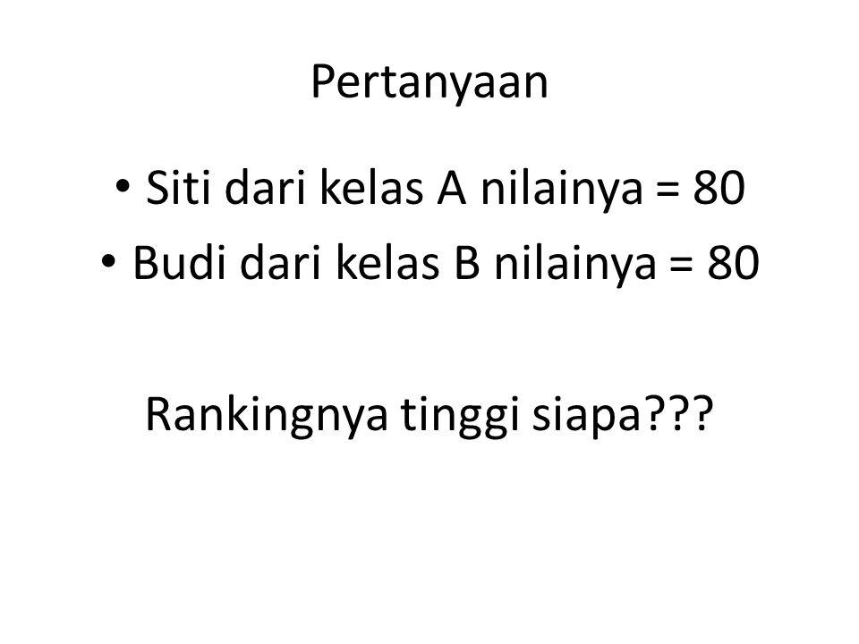 Pertanyaan • Siti dari kelas A nilainya = 80 • Budi dari kelas B nilainya = 80 Rankingnya tinggi siapa???