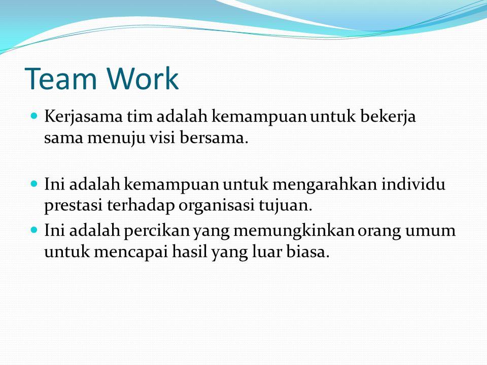 Lanjutan  Sebuah tim adalah sekelompok kecil orang dengan melengkapi keterampilan yang berkomitmen untuk Tujuan umum, kinerja tujuan dan pendekatan, yang mereka menahan diri akuntabel