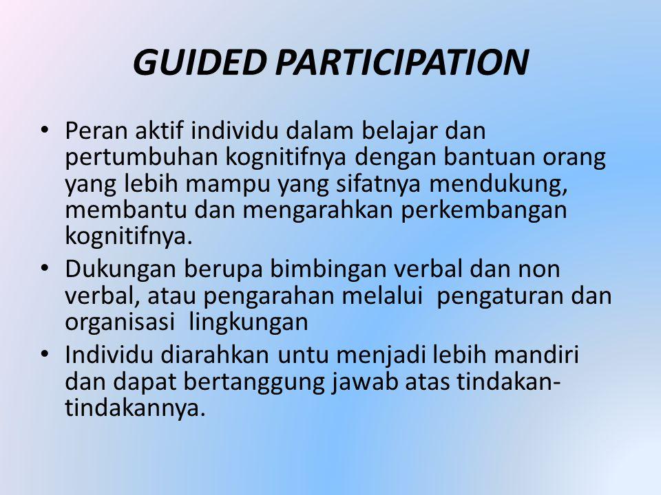 GUIDED PARTICIPATION • Peran aktif individu dalam belajar dan pertumbuhan kognitifnya dengan bantuan orang yang lebih mampu yang sifatnya mendukung, membantu dan mengarahkan perkembangan kognitifnya.