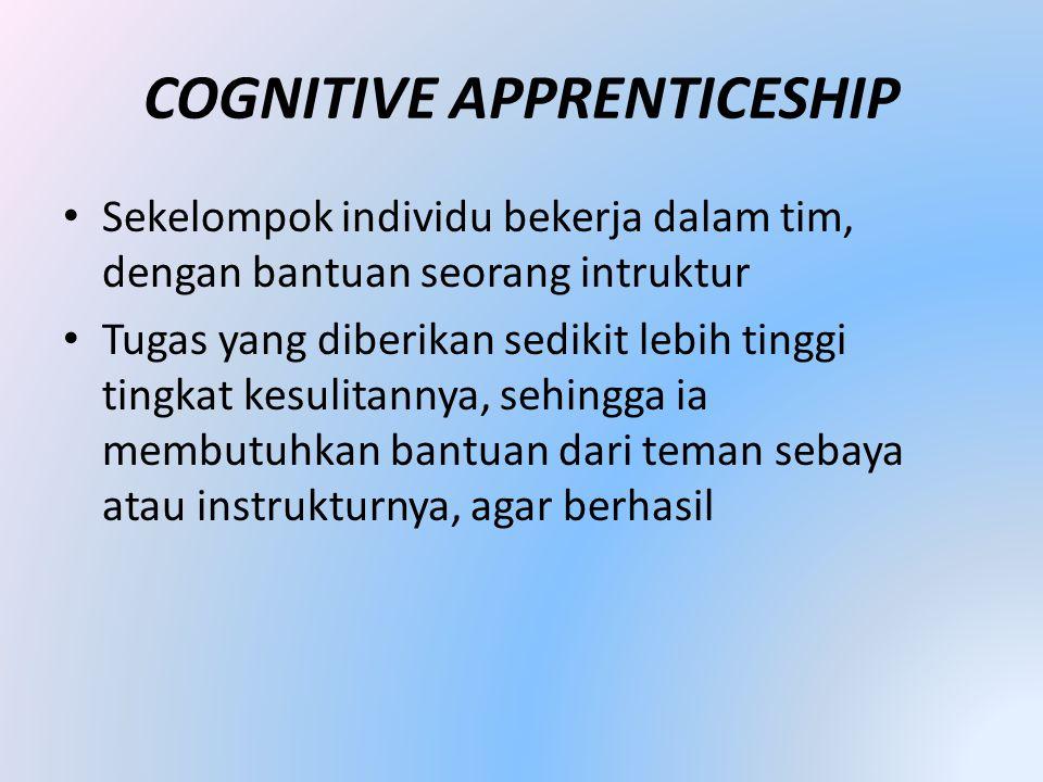 COGNITIVE APPRENTICESHIP • Sekelompok individu bekerja dalam tim, dengan bantuan seorang intruktur • Tugas yang diberikan sedikit lebih tinggi tingkat