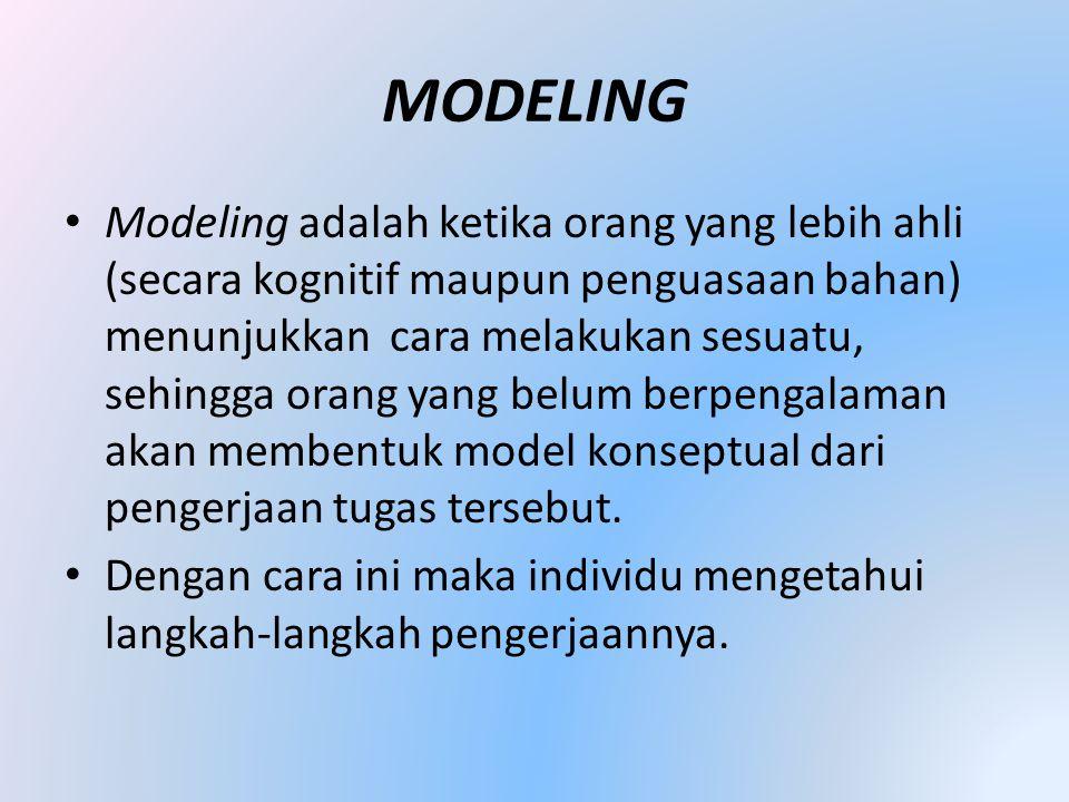 MODELING • Modeling adalah ketika orang yang lebih ahli (secara kognitif maupun penguasaan bahan) menunjukkan cara melakukan sesuatu, sehingga orang yang belum berpengalaman akan membentuk model konseptual dari pengerjaan tugas tersebut.