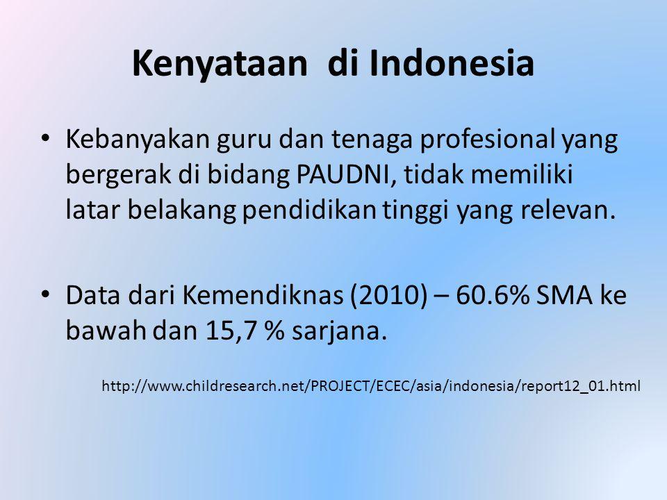 Kenyataan di Indonesia • Kebanyakan guru dan tenaga profesional yang bergerak di bidang PAUDNI, tidak memiliki latar belakang pendidikan tinggi yang relevan.