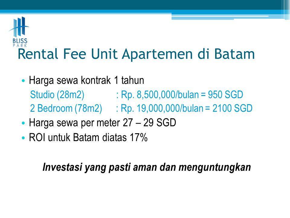 Rental Fee Unit Apartemen di Batam • Harga sewa kontrak 1 tahun Studio (28m2) : Rp. 8,500,000/bulan = 950 SGD 2 Bedroom (78m2) : Rp. 19,000,000/bulan
