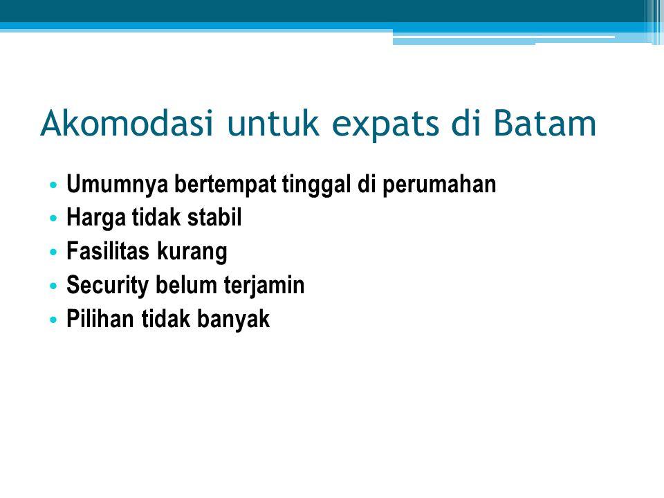 Akomodasi untuk expats di Batam • Umumnya bertempat tinggal di perumahan • Harga tidak stabil • Fasilitas kurang • Security belum terjamin • Pilihan t