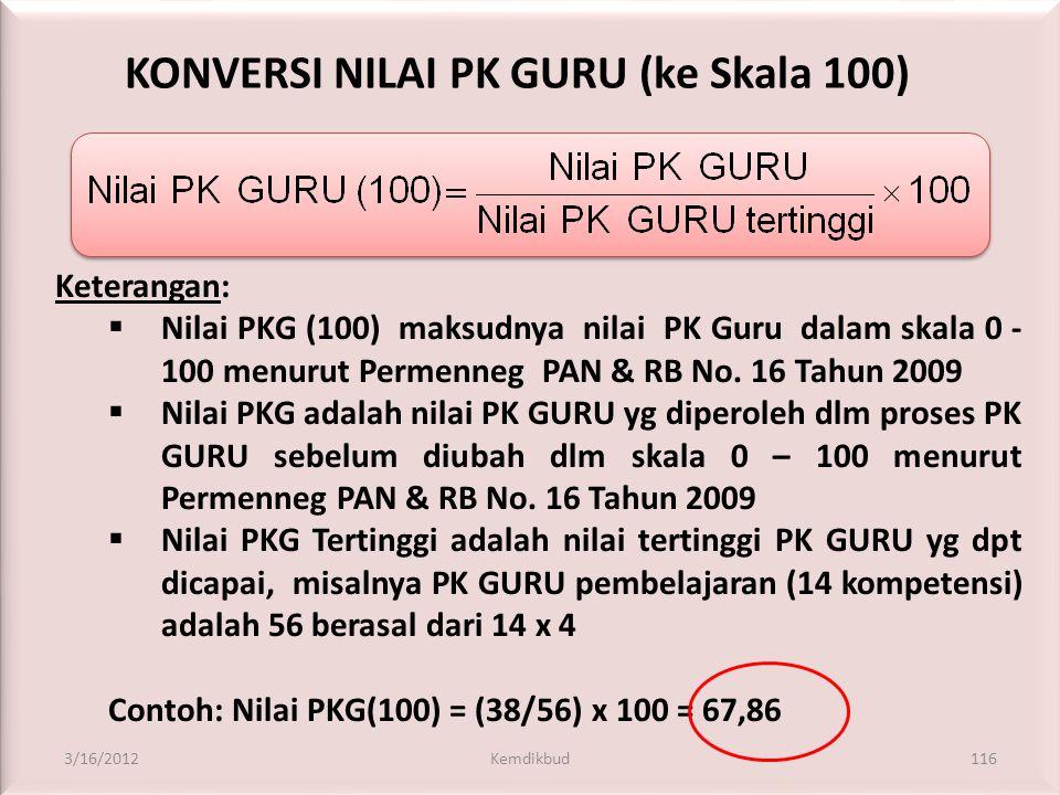 1. KONVERSI HASIL PK GURU • Karena skala penilaian berbeda, diperlukan konversi hasil penilaian kinerja di sekolah ke skala penilaian menurut Permenne