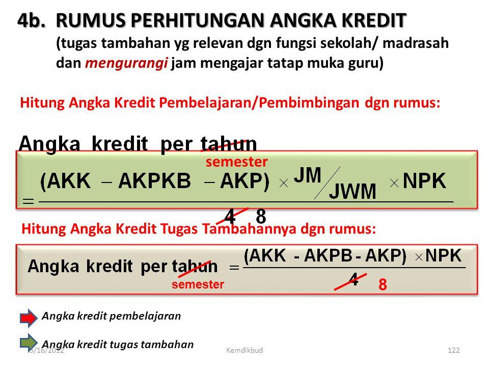 4a. RUMUS PERHITUNGAN ANGKA KREDIT (pembelajaran/pembimbingan) Keterangan: AKK : angka kredit kumulatif minimal yg dipersyaratkan utk kenaikan pangkat