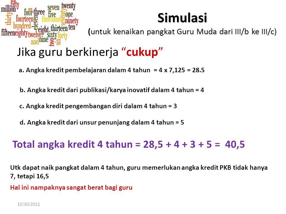 "Simulasi (untuk kenaikan pangkat Guru Muda dari III/b ke III/c) Jika guru berkinerja ""baik"" a. Angka kredit pembelajaran dalam 4 tahun = 4 x 9,50 = 38"
