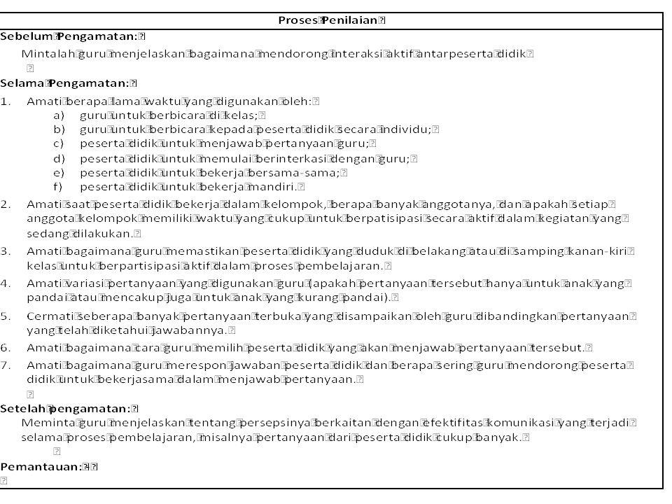 Simulasi: • Kompetensi 6 : Komunikasi dengan Peserta Didik • Jenis dan cara menilai: Pedagogik (Pengamatan) • Pernyataan :Guru berkomunikasi secara ef