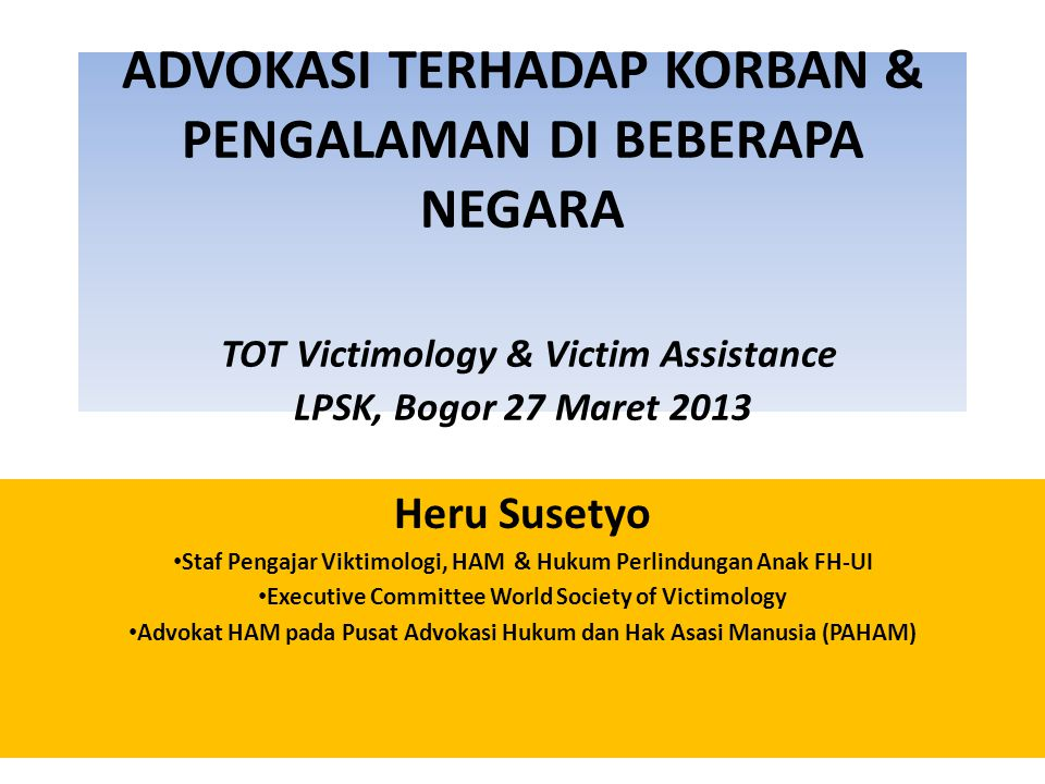 Three definitions of Victim 1.The crime victim 2.The universal concept of victims (Mendelsohn) 3.The victim of violations of human rights including crime (Kirchhoff & Morosawa, 2009)