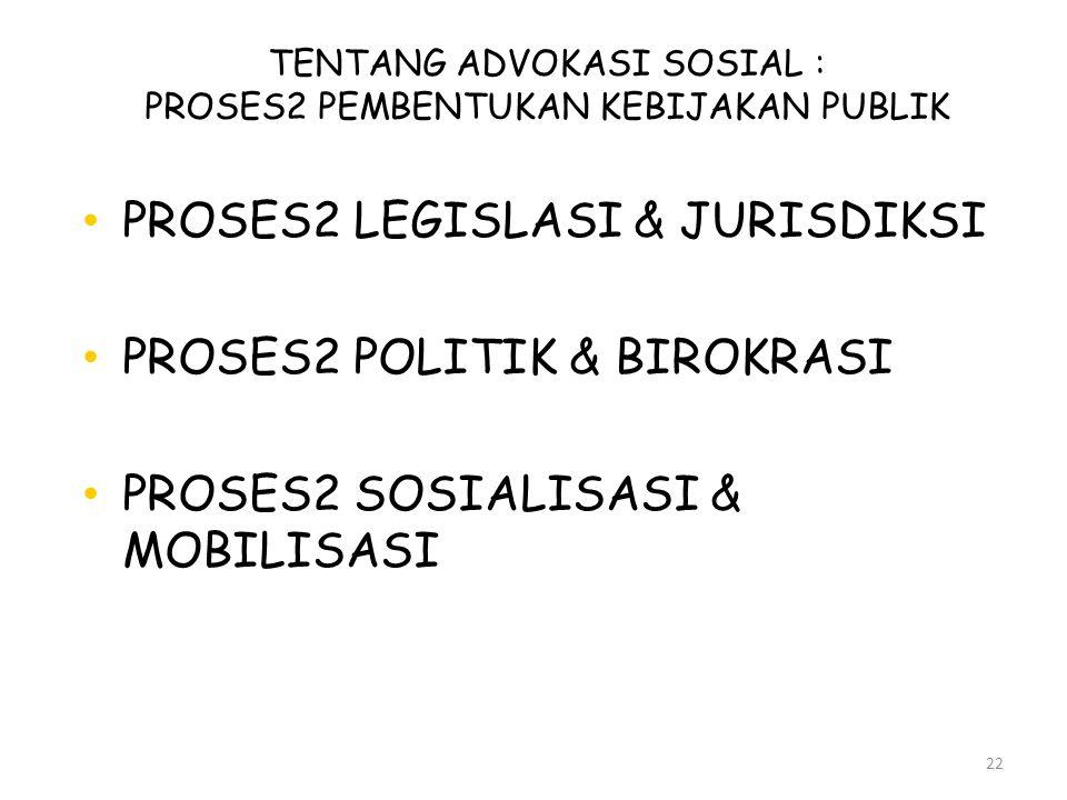 TENTANG ADVOKASI SOSIAL : PROSES2 PEMBENTUKAN KEBIJAKAN PUBLIK 22 • PROSES2 LEGISLASI & JURISDIKSI • PROSES2 POLITIK & BIROKRASI • PROSES2 SOSIALISASI
