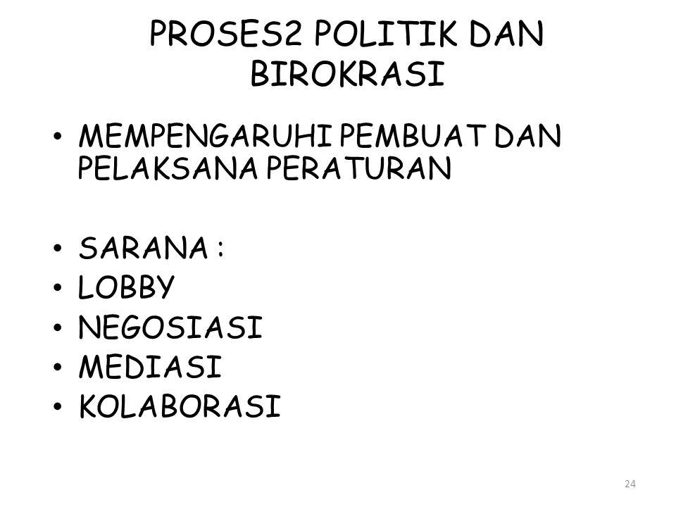 PROSES2 POLITIK DAN BIROKRASI 24 • MEMPENGARUHI PEMBUAT DAN PELAKSANA PERATURAN • SARANA : • LOBBY • NEGOSIASI • MEDIASI • KOLABORASI