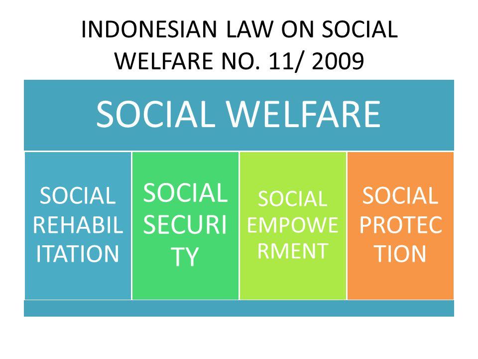 INDONESIAN LAW ON SOCIAL WELFARE NO. 11/ 2009 SOCIAL WELFARE SOCIAL REHABI LITATIO N SOCIAL SECURI TY SOCIAL EMPOWE RMENT SOCIAL PROTEC TION