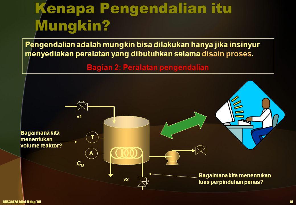 Kenapa Pengendalian itu Mungkin? CHS31024 Edisi 8 Nop '0616 Pengendalian adalah mungkin bisa dilakukan hanya jika insinyur menyediakan peralatan yang