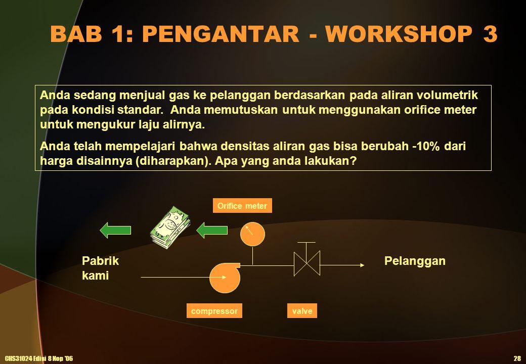 BAB 1: PENGANTAR - WORKSHOP 3 CHS31024 Edisi 8 Nop '0628 Anda sedang menjual gas ke pelanggan berdasarkan pada aliran volumetrik pada kondisi standar.