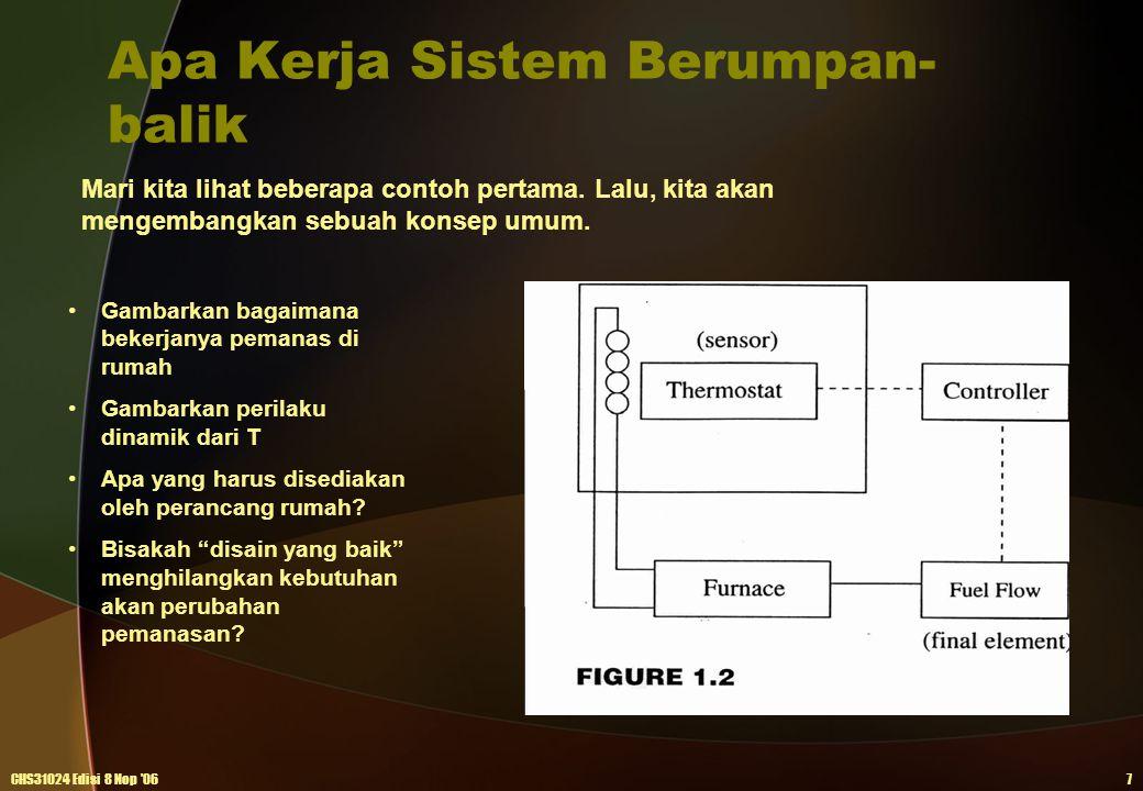 Apa Kerja Sistem Berumpan- balik CHS31024 Edisi 8 Nop '067 Mari kita lihat beberapa contoh pertama. Lalu, kita akan mengembangkan sebuah konsep umum.